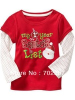 2012 hot selling long sleeve  baby Santa&amp;#39;s T-shirt , children stylish wear ,baby wear  TS-014