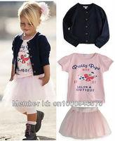 Girls' Suits Girl's 3 pieces suits Girl's Cardigan outerwear+ short sleeve printing T-shirt + Tutu dress skirt