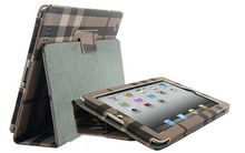 For iPad 2 Leather Case twill plaid Quality protective case Cover for ipad 2 business case with stand Free Shipping(China (Mainland))