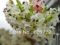 2013 EMS Free High Simulation 87 cm EVA Real in Touch Artificial Lily  3 Head in one Bundle Wedding Flower PInk & White FL173
