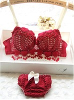 New Japanese and Korean style young girls luxury festive burgundy push up underwear sets sexy hollow lingerie set women Bra sets