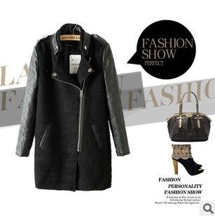 2015 New Fashion Women's PU leather Sleeve Windcoat  Winter Coat Overcoat E21194-X03