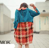 [LYNETTE'S CHINOISERIE - MOK ] Original Design Color Block Cotton Corduroy Back Buckle Sericultural Women's Doll Dress