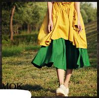 [LYNETTE'S CHINOISERIE - MOK ] Original Design Ramie Green Women's Skirt; Lady's Skirt
