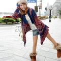 Fashion Women Lady Loose Long Sleeve Knit Sweater Top Cardigan Shawl Cape Blue, Beige free shipping 8169