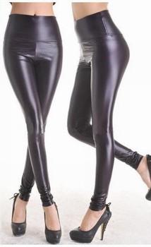 Shiny Metallic High Waist Black Stretchy Leather Leggings W3014