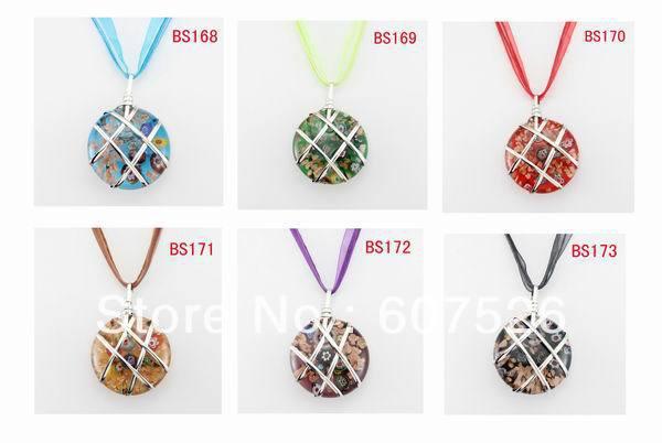 12pc Baroque Wolesale Colorful Fashion handmade Metal Art Gold dust Glass Beads Lampwork murano glass pendant necklace jewelry(China (Mainland))