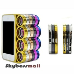 For iPhone 5 knuckle Case,Fist Finger Ring Chrome Aluminium Hard Back Cover Cases Brass for iPhone 5 5G,Free shipping(China (Mainland))