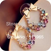 Colorful Bowknot Stud Earrings Ear Rings Leopard For Lady Women Girls Retails &Wholesale
