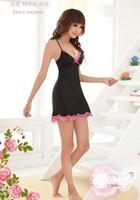 Women Black Sexy Lingerie Set,Pink Lace Dress+G-String, Sexy Mini Skirt,Sleepwear Night Pajamas Costume Free Shipping
