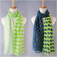 fashion print dot mix Free Shipping 2014 NEW Style, Classic Polka Dot Scarf Long Scarf Women's Korean Version Silk Scarf