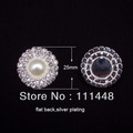 (S0008) 25mm Deluxe Double Row Rhinestone & Pearl Cluster, Wedding Embellishment, Diamante Buckles, Crystal buckle