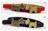 F04102 Fashion All-match Lovely PU leather Waistband Belt Dog Kiss buckle Thin Skinny Girdle For Lady Woman + Free shipping