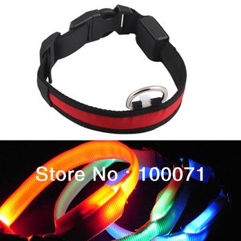 Nylon LED Dog Night Safety Pet Collar Flashing Light Up Pendant Rope  #23929