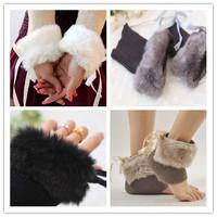 Free shipping! 2012 Winter newest fashion faux Rabbit fur gloves,  socks, shoe set