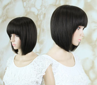 Cheap Price,Bobo Dark Brown #1b smooth blended hair wig/Full Wigs , Wholesale Blended ladies wigs,free shipping