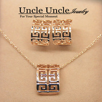 FREE SHIPPING 18K Real Gold Plated Classic Retro Rome Design Lady Jewelry Sets Necklace/Earrings Wholesale