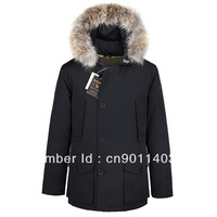 free shipping brand new Woolrichs arctic parka man's fox fur goose down coat jacket black outwear