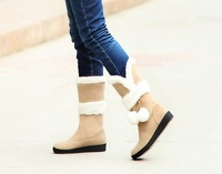 2012 winter female casual snow boots medium-leg+wedges platform+short plush boots free shipping