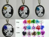 Noir belle morte skeleton necklace lady princess halloween cameo necklace choose your color NW694