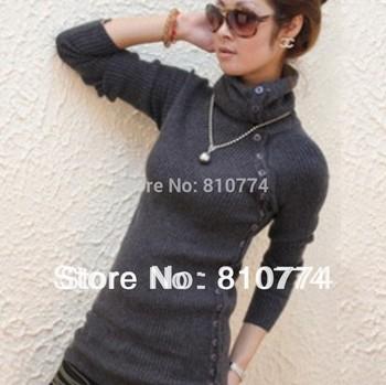 2015 Elastic slim medium-long turtleneck knitted basic shirt ,thickening sweater, outerwear