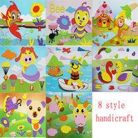 Animal Kids 3D EVA Handmade Puzzle, Magnetic  DIY children Sticker 3D art three-dimensional painting Toys