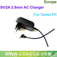 Freeshipping 5V 2A DC 2.5mm Europe Plug Converter Charger Power Supply Adapter For Tablet PC/MID