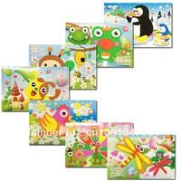 Ugly Duckling 16pcs Animal Bear Mini Kids EVA handmade DIY Children Sticker 3D Puzzles Toys art three-dimensional Painting Gift