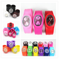 300pcs/lot  Free shipping Wholesale Fashion Silicone Slap watch Jelly slap on watch High Quallity wristwatch