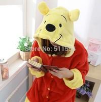 Free Shipping 2014 New One Piece Adult Winnie Bear Footie Flannel Fleece Halloween Boy Christmas Animal Pyjamas Onesie For Sale