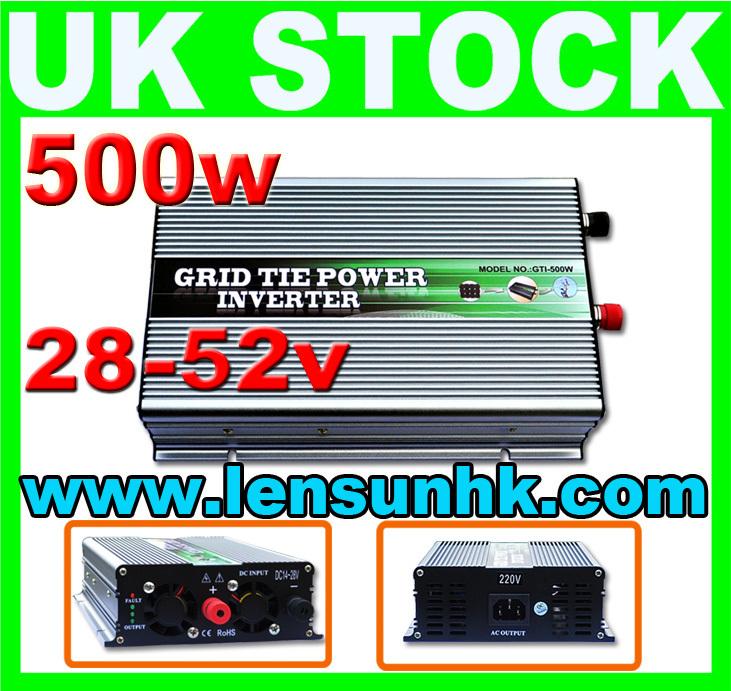 WHOLESALE UK STOCK,500W Grid Tie Inverter 28-52V DC,230V AC,FAST SHIP,NO CUSTOM TAX(China (Mainland))