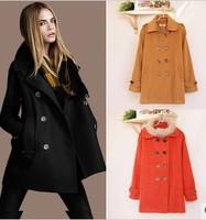 GYQ045 Wool & Blends women coat down double breasted ladies coats women