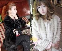 XJVIVI 2/3 sleeves Faux Fur Coat black/white women's winter coats new design rabbit fur coat women