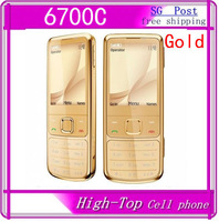 hot sell Original 6700C Classic Gold Cell Phone Unlocked with black box free leather case Russian Keyboard