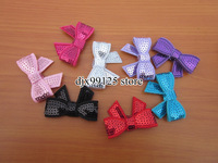 50pcs/lot, 1.8&quot; Embroideried sequin bows with clip Girls&#39; hair accessories boutique bows hair pins hair ornaments