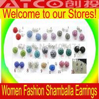 Free Shipping Wholesale 500Pairs/lot Clay Disco Balls Crystal Fashion Girls Shamballa Earrings Studs QW500