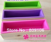 Wholesale ,toast / handmade soap cake mold / 1 wooden box + 1silicone mold /set Combo / square 24.5CM*5.7CM*7CM,free shipping