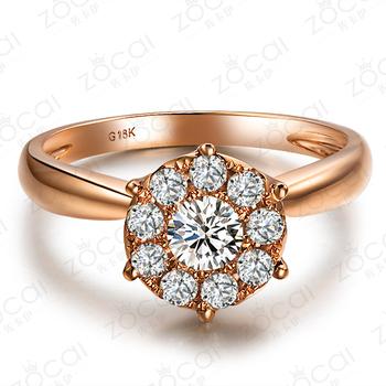 ZOCAI SPARKLING 2.5 CT DIAMOND DIAMETER 0.5 CT CERTIFIED I-J/SI  ROUND CUT 18K ROSE GOLD DIAMOND RING W00041