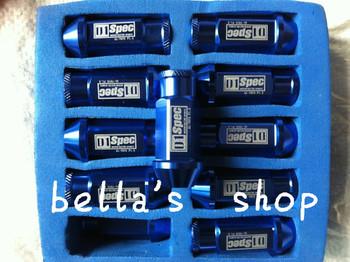 free shipping D1-SP** LIGHT WEIGHT WHEEL RACING LUG NUTS m12*1.5/m12-1.25 L:52mm (20pcs/set)  Blue