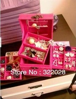 Free shipping hot sale new  jewellery box case multideck excellent Storage Boxes & Bins gifts for girl,Xma's gift Dropshipping