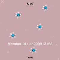 A19 100pcs/lot 8MM Christmas Xmas Snowflake Blue Rhinestone Crystal 3D Salon Acrylic Nail Art Tips Craft DIY Design Decoration