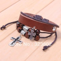 Free Shipping New Fashion Retro Alloy Cross Brown Leather Bracelet or Wristband Genuine Cowhide by Handmade