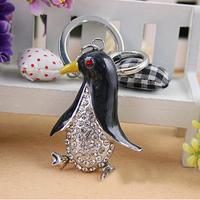 Christmas Gift, Full Rhinestone, Crystal  Penguin Keychain Alloy Keyring handBag Charm Real Gold Plated,Best Present