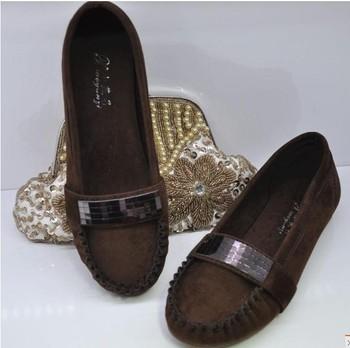 Ladies paillette belt cow muscle outsole single shoes round toe flat comfortable female shoes