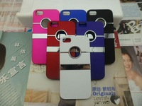 Wholesale 500pcs/lot New Popular Nice Design Deluxe Chrome Hole Metal stand Hard Back Cover Shell Skin Case For iPhone 5 5G