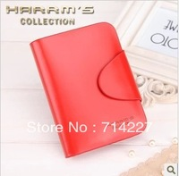 High-quality Genuine Leather Wallet Women Short Style Cowhide red Purse 27-2  wholesale and retail Free shipping
