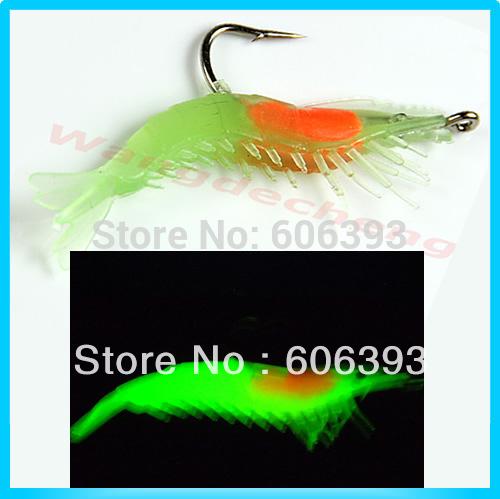 C18 10pcs lot 60mm 3g Noctilucent Soft Silicone Prawn Shrimp Fishing Lure Hook Bait