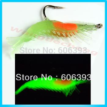 C1810pcs/lot 60mm 3g Noctilucent Soft Silicone Prawn Shrimp Fishing Lure Hook Bait