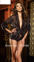 Free Shipping Chiffon Robe & Boyshort chemise Night Wear Lingerie