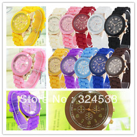 Wholesale - Shadow style geneva watch new rubber candy jelly fashion unisex silicone quartz watches 100pcs free shipping DHL
